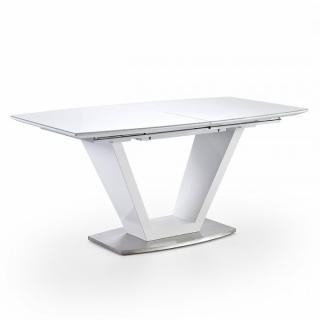 Table repas extensible design ILLIAT 160/220 x 90 cm blanc laqué brillant verre blanc