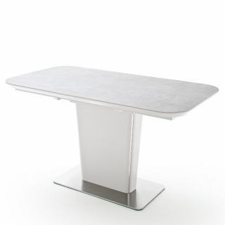 Table repas extensible design KEITA plateau céramique gris clair 140 x 85 cm