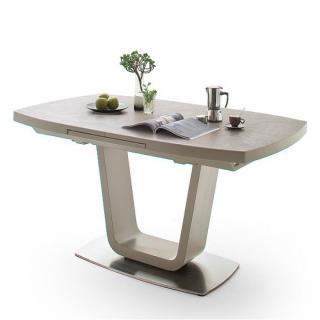 Table extensible LUCIA plateau céramique taupe 140 x 85 cm