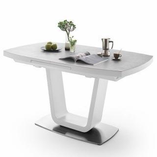 Table extensible LUCIA plateau céramique gris clair 160 x 90 cm