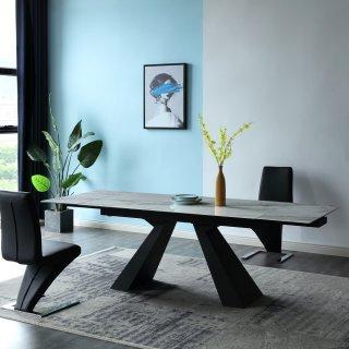 Table repas extensible MÉTÉORE marbre blanc 140/200 x 90 cm