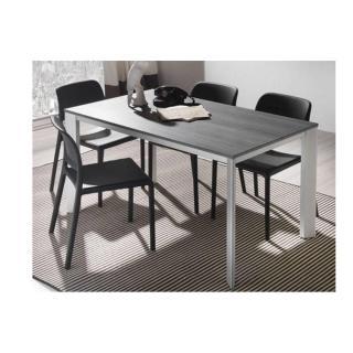 Table repas extensible TECNO 130 x 80 cm en polymère finition ciment et aluminium naturel anodisé