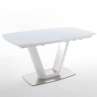 Table repas extensible design VITALI blanc laqué mat 160 x 95 cm