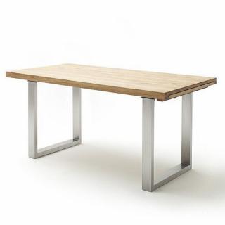 Table repas extensible DUBLIN 180 x 100 cm chêne sauvage acier brosse