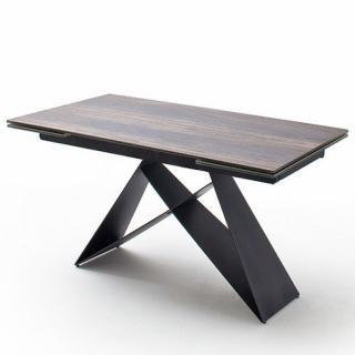 Table extensible KONAN plateau céramique façon bois antique 160 x 90 cm