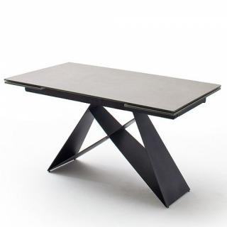 Table extensible KONAN plateau céramique gris clair 160 x 90 cm