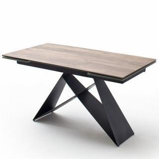 Table repas extensible design KONAN plateau céramique façon bois 160 x 90 cm