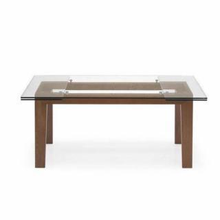 CALLIGARIS Table repas extensible MAESTRO  180x100 en verre piétement hêtre massif