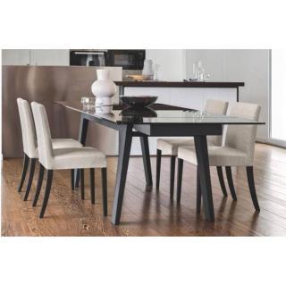CALLIGARIS Table repas extensible MAESTRO  180x100 en verre gris fumé piétement graphique
