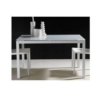 Table repas extensible MAJESTIC structure aluminium laqué blanc 130 x 80 cm en verre blanc