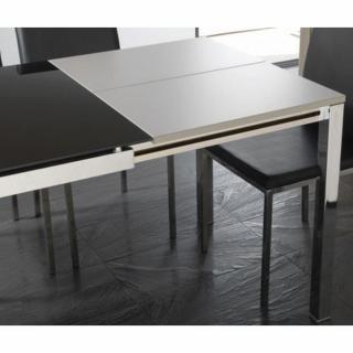 Table repas extensible MAJESTIC 130 x 80 cm en verre noir et acier