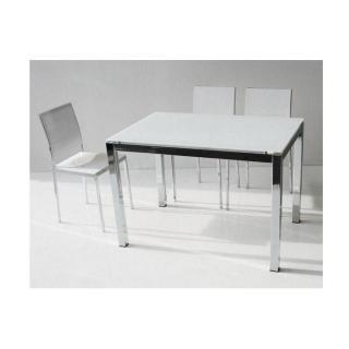 Table repas extensible MAJESTIC 130 x 80 cm en verre blanc et aluminium chrome
