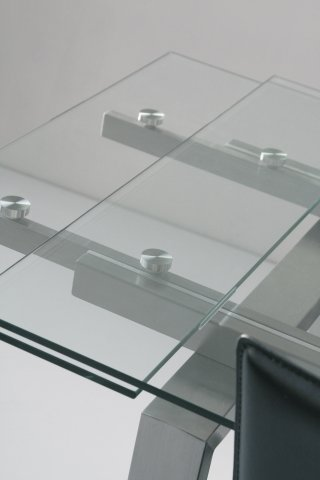 tables design au meilleur prix table repas extensible new york verre et acier 160 x 90 cm. Black Bedroom Furniture Sets. Home Design Ideas