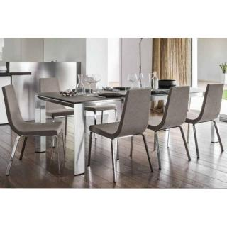 Table repas extensible ROYAL 180/240*100 cm avec plateau en verre ou céramique