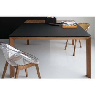 CALLIGARIS Table repas extensible SIGMA GLASS 140x140  en verre noir piétement bois