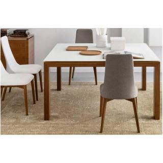 CALLIGARIS Table repas extensible SIGMA GLASS 140x140  en verre blanc piétement bois