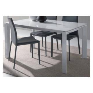 Table repas extensible SLIVER en verre blanc, 140 x 90 cm, piétement en acier laqué blanc.