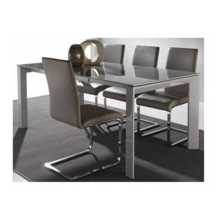 Table repas extensible SLIVER 140 x 90 cm en verre taupe clair satiné.