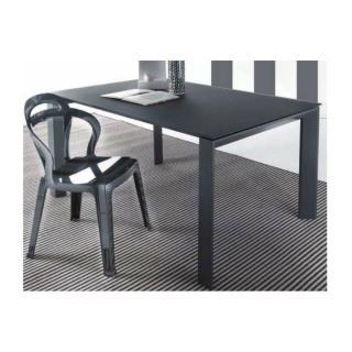 Table repas extensible SLIVER en verre gris titane satiné.