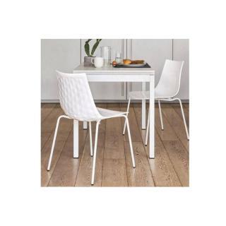 Table repas extensible SNAP BOOK 110x70  en chêne blanc piétement métal blanc