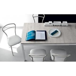 Table extensible SNAP  déco perle piétement acier laqué blanc 130x90 cm