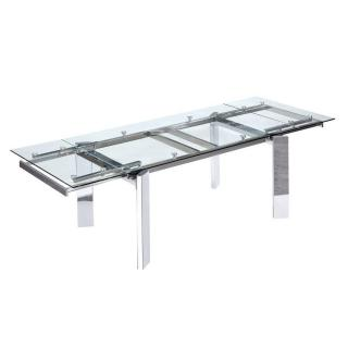 Table repas design extensible STEEL verre et chrome