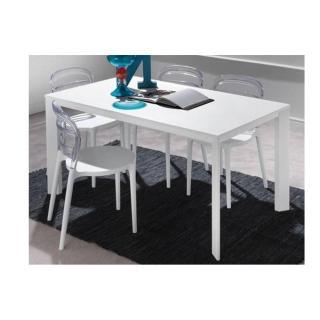 Table repas extensible TECNO 130 x 80 cm en polymère blanc et aluminium laqué blanc