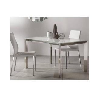 Table repas extensible TITANIUM 160 x 90 cm verre blanc et acier chromé