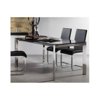 Table repas extensible TITANIUM 160 x 90 cm verre noir et acier chromé