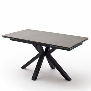 Table extensible design NODA 160 x 90 cm plateau céramique anthracite pied acier laqué anthracite