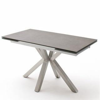 Table  extensible NODA 160 x 90 cm plateau céramique anthracite pied acier brossé