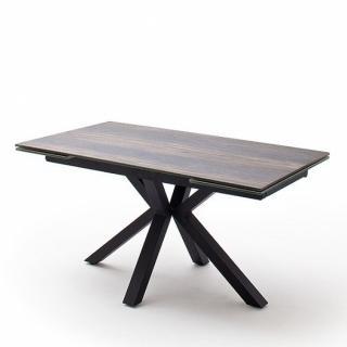 Table extensible design NODA 160 x 90 cm plateau céramique aspect bois antique pied acier laqué anthracite