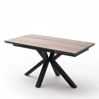 Table extensible design NODA 160 x 90 cm plateau céramique aspect bois pied acier laqué anthracite