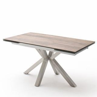 Table extensible design NODA 160 x 90 cm plateau céramique aspect bois pied acier brossé