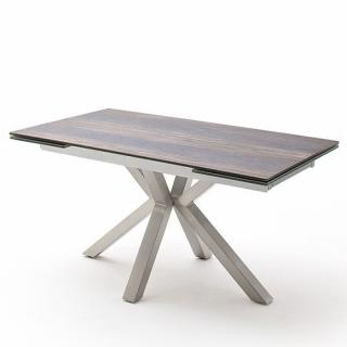 Table extensible design NODA 160 x 90 cm plateau céramique aspect bois antique pied acier brossé