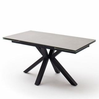 Table extensible design NODA 160 x 90 cm plateau céramique gris clair pied acier laqué anthracite