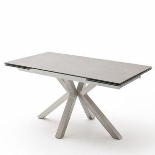 Table extensible design NODA 160 x 90 cm plateau céramique gris clair pied acier brossé