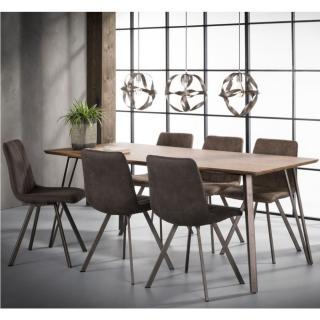 Table repas 8 couverts ODIS 160cm chêne brun