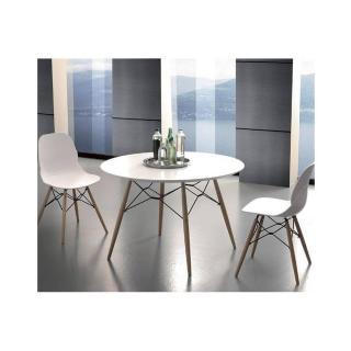 Table de repas SCHELL 100cm mélaminé blanc satiné pied bois