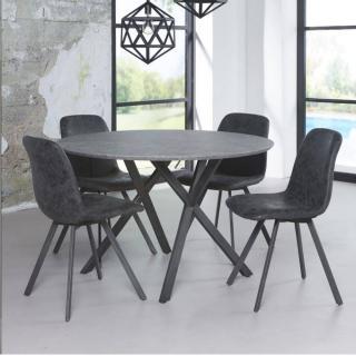 Table repas DIEGO 120cm plateau effet béton piétement acier noir
