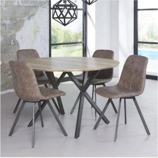 Table repas DIEGO 120cm plateau effet chêne antique piétement acier noir