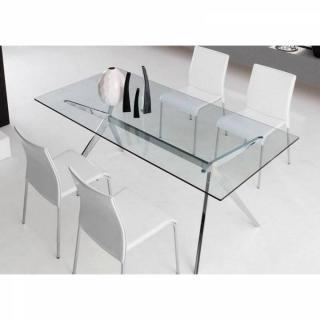 Table repas SEVEN  160x90 en verre piétement acier chromé