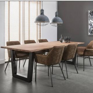 Table repas TRAPEZE design acacia massif 38mm avec piétement en acier