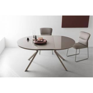 Table de repas extensible ronde TULIPE QUATTRO 120/165cm en verre sérigraphié