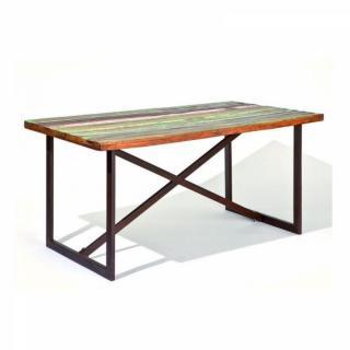 Table repas unique COLORI en bois de manguier recycle et acier
