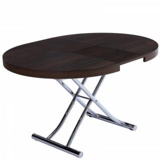 Table basse ronde relevable et extensible SATURNA WENGE diamètre 105 x 105/135 cm