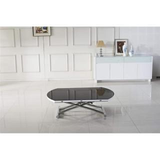 Table basse ronde relevable et extensible PLANET noire