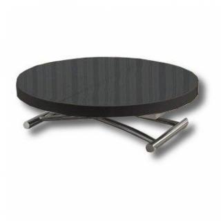 Table basse ronde relevable et extensible SATURNA noire diamètre 90 cm