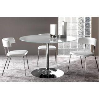 Table repas ARMONY en verre blanc et acier chromé 120 cm