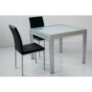 Table repas extensible SPACE en verre sérigraphié neutre